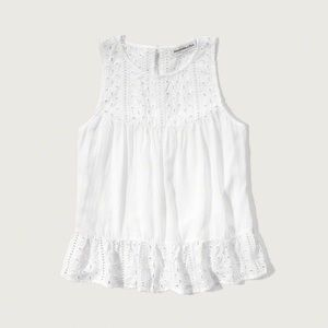 Abercrombie and Fitch White Eyelet Top